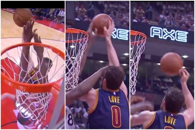 Raptors Bismack Biyombo blocks Cavs Kevin Love's dunk.