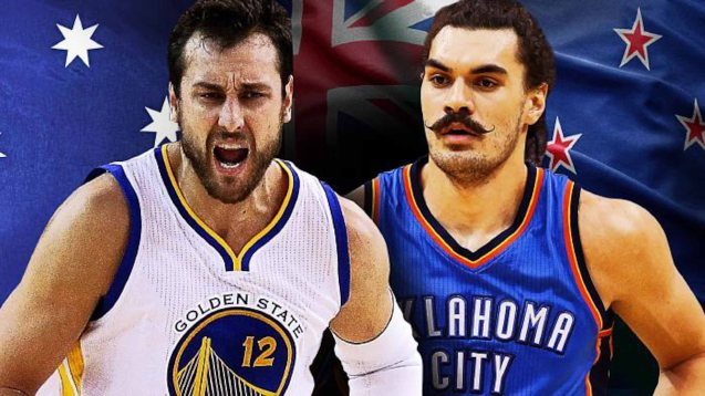 GSW's Andrew Bogut (AUS) vs OKC's Steven Adams (NZ) in the Western Conference Finals- photo from: http://www.foxsports.com.au/basketball/nba/andrew-bogut-v-steven-adams--the-battle-for-oceanias-best-dirty-basketball-and-who-actually-plays/news-story/36b73f3cd0fa2128346a41d5e3e47b59