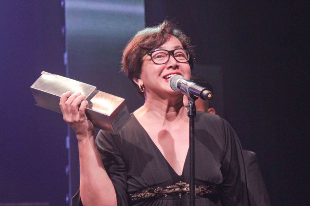 Shamaine Buencamino received the award for Delphine Buencamino who won Female Lead Performer In a Musical for MABINING MANDIRIGMA. The 8th Philstage Gawad Buhay was held at Onstage Greenbelt last April 28, 2016. Photo by Jude Bautista