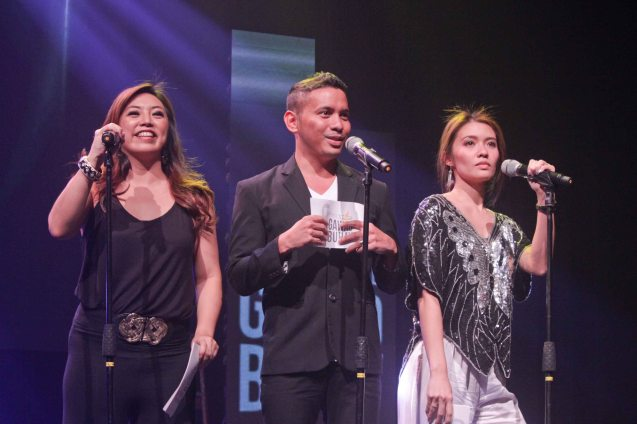 Presenters from left: Caisa Borromeo, John Herrera and Giannina Ocampo. The 8th Philstage Gawad Buhay was held at Onstage Greenbelt last April 28, 2016. Photo by Jude Bautista