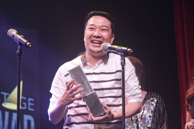 Outstanding Costume Designer James Reyes won for MABINING MANDIRIGMA but was also nominated for his work in JUEGO DE PELIGRO. The 8th Philstage Gawad Buhay was held at Onstage Greenbelt last April 28, 2016. Photo by Jude Bautista