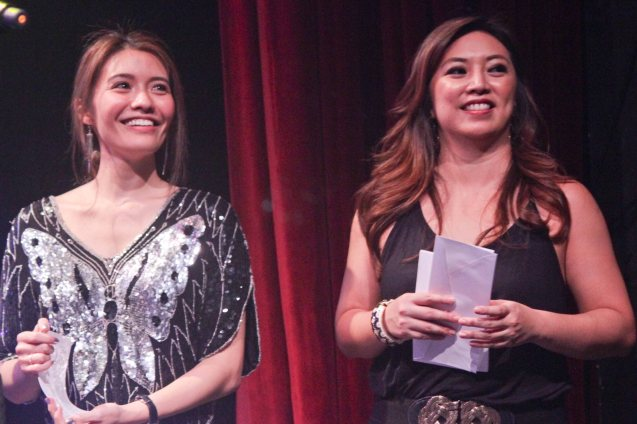Presenters from left: Caisa Borromeo and Giannina Ocampo. The 8th Philstage Gawad Buhay was held at Onstage Greenbelt last April 28, 2016. Photo by Jude Bautista