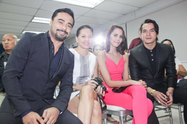 from left: Sid Lucero, Bing Pimentel, Chanel Thomas & Jake Cuenca. The 5th Indie Bravo was held at the PDI office, Dec. 11, 2014. Photo by Jude Bautista