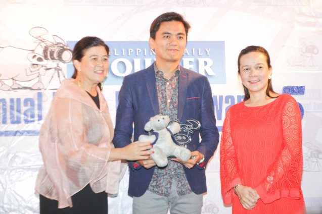from left: PDI Pres. & CEO Sandy Prieto-Romualdez, Jun Robles Lana and Senator Grace Poe. The 5th Indie Bravo was held at the PDI office, Dec. 11, 2014. Photo by Jude Bautista