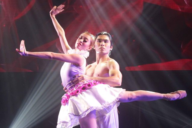 Joan Sia and Romeo Peralta performs excerpt from Bloom (Ballet Manila) choreography by Annabelle Lopez Ochoa. BLOOM earned Outstanding Modern Dance Production. The 8th Philstage Gawad Buhay was held at Onstage Greenbelt last April 28, 2016. Photo by Jude Bautista