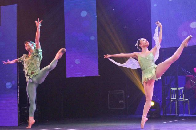 Victor Maguad and Janine Arisola performs excerpt from Peter Pan (Ballet Philippines) choreography by Edna Vida Froilan. PETER PAN won Outstanding Classical Dance and Outstanding Production for Children. The 8th Philstage Gawad Buhay was held at Onstage Greenbelt last April 28, 2016. Photo by Jude Bautista