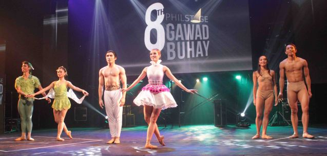 from left: Victor Maguad and Janine Arisola PETER PAN (Ballet Philippines), Romeo Peralta and Joan Sia BLOOM (Ballet Manila), Regina Magbitang and Ian Ocampo DANCING IN ONE VOICE - JUST GIVE ME A REASON (Philippine Ballet Theater). The 8th Philstage Gawad Buhay was held at Onstage Greenbelt last April 28, 2016. Photo by Jude Bautista