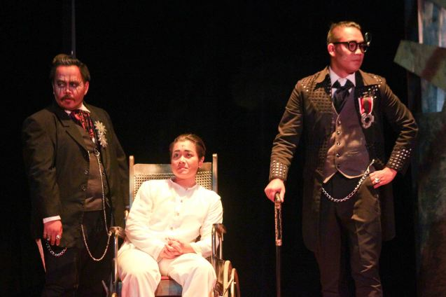 Delphine Buencamino (center) Female Lead Perf in a Musical winner with her from left: Jonathan Tadioan (Felipe Buencamino)& & JV Ibesate (Pedro Paterno). TP's MABINING MANDIRIGMA ran at the Tanghalang Aurelio Tolentino , CCP. Photo by Jude Bautista