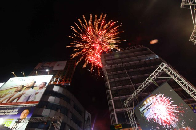 Fireworks closed the show; The Partido Galing at Puso Miting De Avance was held at Plaza Miranda, Quiapo, Manila last May 7, 2016. Photo by Jude Bautista