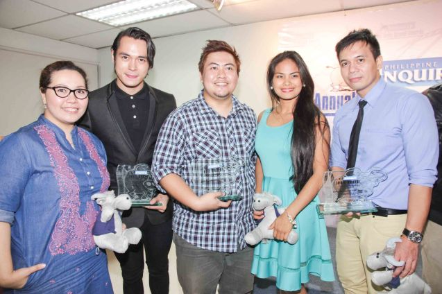 from left: Babyruth Villarama, Jake Cuenca, Jason Paul Laxamana, Althea Vega and Perry Escaño. The 5th Indie Bravo was held at the PDI office, Dec. 11, 2014. Photo by Jude Bautista