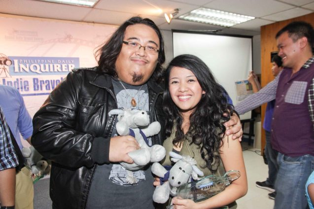 Emman Dela Cruz & Sigrid Andrea P. Bernardo. The 5th Indie Bravo was held at the PDI office, Dec. 11, 2014. Photo by Jude Bautista
