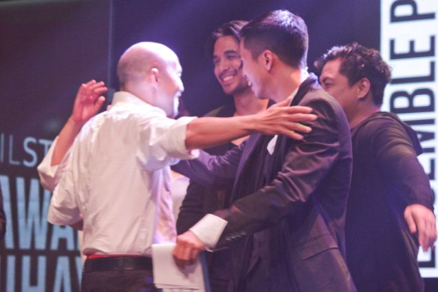 Bart Guingona hugs his cast in NORMAL HEART winning 3 nods: Outstanding Ensemble Performance, Stage Direction and Existing Material for a Play. The 8th Philstage Gawad Buhay was held at Onstage Greenbelt last April 28, 2016. Photo by Jude Bautista