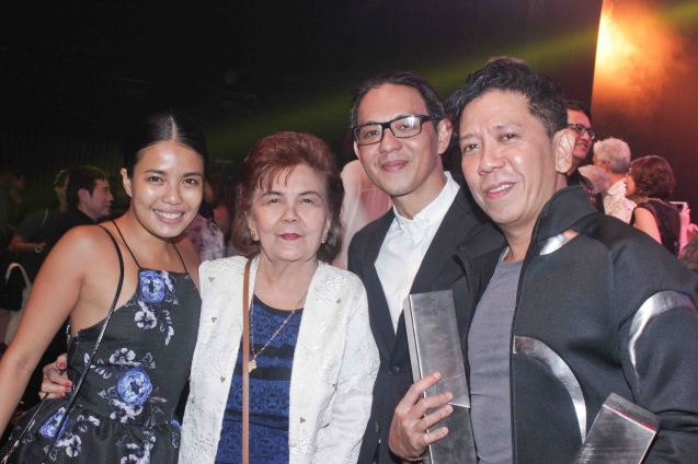 from right: Kanakan Balintagos – Outstanding Original Script for MGA BUHAY NA APOY, BP Artistic Dir. Paul Alexander Morales, Leonie Calo Solito and talented BP Alum Carissa Adea. The 8th Philstage Gawad Buhay was held at Onstage Greenbelt last April 28, 2016. Photo by Jude Bautista