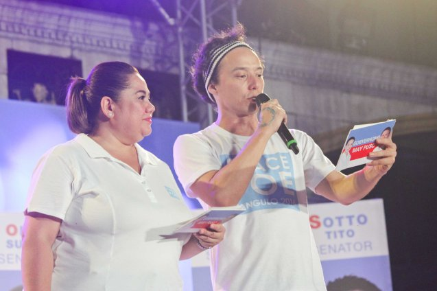 Ruby Rodriguez & Epi Quizon; The Partido Galing at Puso Miting De Avance was held at Plaza Miranda, Quiapo, Manila last May 7, 2016. Photo by Jude Bautista