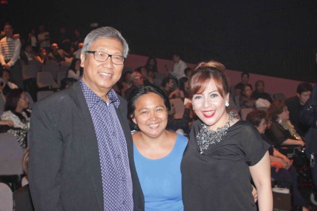 from left: Dr. Nick Tiongson Original Librettist awardee, Events Coordinator Lee Cundañgan and Actress Liesl Batucan. The 8th Philstage Gawad Buhay was held at Onstage Greenbelt last April 28, 2016. Photo by Jude Bautista