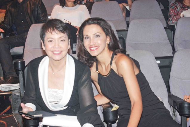 from left: Repertory Philippines' Joy Virata and RWM Artistic Dir. Menchu Lauchengco Yulo. The 8th Philstage Gawad Buhay was held at Onstage Greenbelt last April 28, 2016. Photo by Jude Bautista