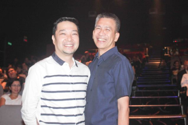 from left: James Reyes - Outstanding Costume design and writer Ibarra Mateo. The 8th Philstage Gawad Buhay was held at Onstage Greenbelt last April 28, 2016. Photo by Jude Bautista