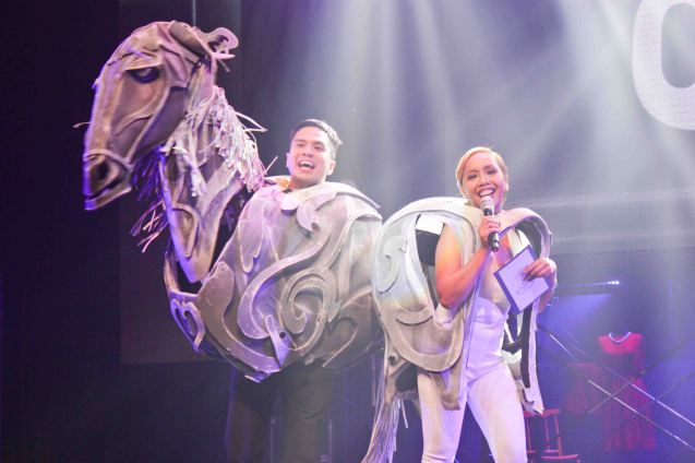 Hosts Topper Fabregas and Kakai Bautista in costume from THE HORSE AND HIS BOY by Trumpets. The 8th Philstage Gawad Buhay was held at Onstage Greenbelt last April 28, 2016. Photo by Jude Bautista