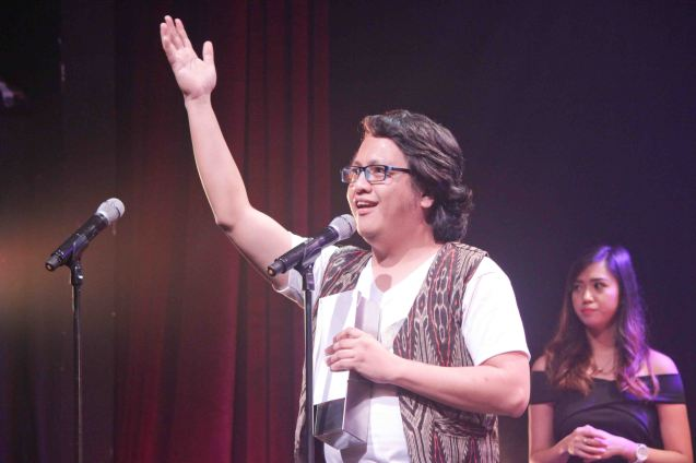 Joed Balsamo earned 2 awards: Outstanding Original Musical Composition and Outstanding Musical Direction both for MABINING MANDIRIGMA. The 8th Philstage Gawad Buhay was held at Onstage Greenbelt last April 28, 2016. Photo by Jude Bautista