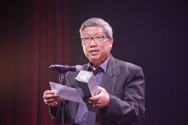 Dr. Nick Tiongson – Outstanding Original Libretto for MABINING MANDIRIGMA. The 8th Philstage Gawad Buhay was held at Onstage Greenbelt last April 28, 2016. Photo by Jude Bautista