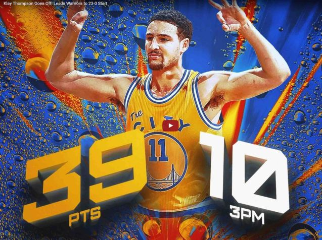 Klay's 39pt performance was last Dec 2015- stretching the GSW win streak to 23. Klay scored 41 in Game 6 at the Western Conference finals. Photo from http://www.slamonline.com/media/slam-tv/klay-thompson-drops-39-in-warriors-win-video/#qE0Wcvuh8ZlzCmz5.97