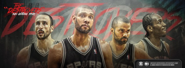 Spurs 2014 champs/stars from left: Manu Ginobili, Tim Duncan, Tony Parker and Kawhi Leonard. Wallpaper by http://michaelherradura.deviantart.com/art/San-Antonio-Spurs-The-Destroyers-FB-Cover-455791657