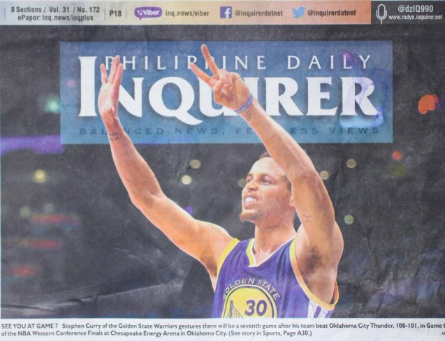 GSW staves off elimination Steph Curry showing the game 7 sign made the PDI banner- Monday May 30, 2016
