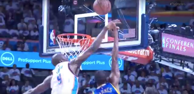 OKC improved their defense – Serge Ibaka blocks Andre Iguodala
