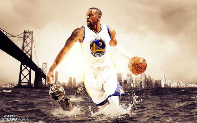 Andre Iguodala has the Oakland Bay Bridge, The Golden State Bridge's sister behind him. wallpaper by http://clydegraffix.weebly.com/wallpapers.html