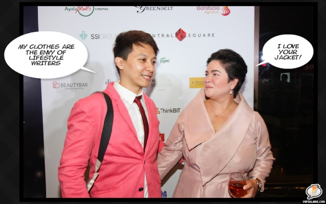 Dexter Matilla meets Cannes Best Actress Jaclyn Jose. Catch the 21st French Film Festival from June 8 to 14, 2016 at the Greenbelt 3 Cinemas and the Bonifacio High Street Cinemas. The fest includes Pinoy films IMBISIBOL & MANANG BIRING on June 12 at Greenbelt. Photo by Jude Bautista