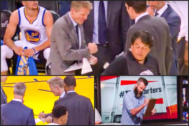 Coach Steve Kerr breaks a clipboard in half out of frustration. Below right: Trey Kirby of THE STARTERS fail to duplicate the feat w their own clipboard. https://www.youtube.com/watch?v=Za3uhZLRwo4