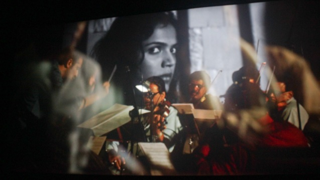 Orchestra syncs music with Ayanna (Shriya Pilgaonkar) on screen. Catch the 21st French Film Festival from June 8 to 14, 2016 at the Greenbelt 3 Cinemas and the Bonifacio High Street Cinemas. The fest includes Pinoy films IMBISIBOL & MANANG BIRING on June 12 at Greenbelt. Photo by Jude Bautista