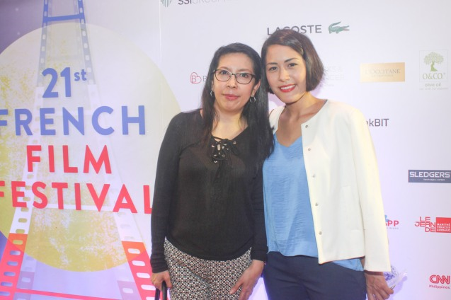 from left: PDI Columnist Dolly Ann Carvajal and CNN Phil Reporter Isabella Montano. Catch the 21st French Film Festival from June 8 to 14, 2016 at the Greenbelt 3 Cinemas and the Bonifacio High Street Cinemas. The fest includes Pinoy films IMBISIBOL & MANANG BIRING on June 12 at Greenbelt. Photo by Jude Bautista