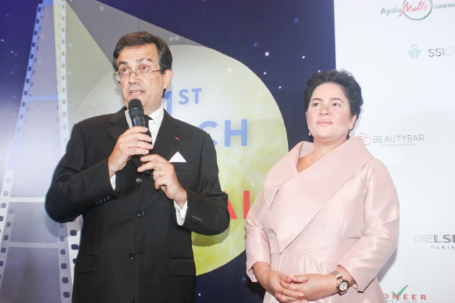 Amb. Thierry Mathou and Cannes Best Actress Jaclyn Jose. Catch the 21st French Film Festival from June 8 to 14, 2016 at the Greenbelt 3 Cinemas and the Bonifacio High Street Cinemas. The fest includes Pinoy films IMBISIBOL & MANANG BIRING on June 12 at Greenbelt. Photo by Jude Bautista