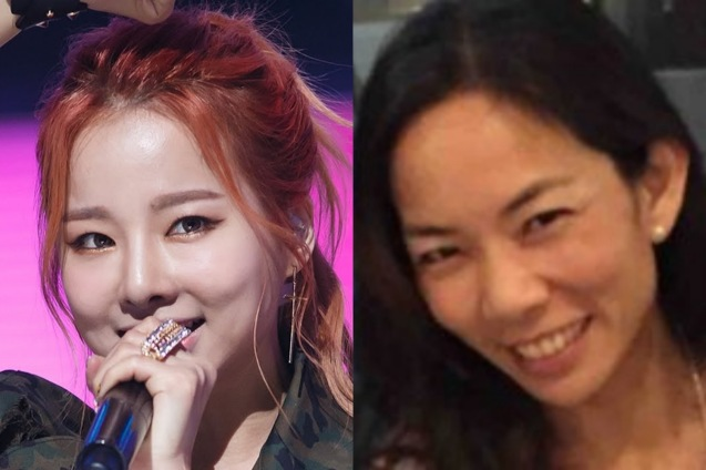 Left: EXID member Solji has similar features with (right) Filipina triathlete and PR exec Leica Carpo.