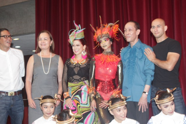 Standing from left: BP Artistic Dir. Paul Morales, BP Pres. Margie Moran, Sea Princess Tessa Prieto Valdes, Firebird Rita Angela Winder, Costume Designer Mark Higgins and Choreographer George Birkadze. Catch BP's FIREBIRD AND OTHER BALLETS at the CCP Main Theater from Aug 19-21, 2016. Photo by Jude Bautista