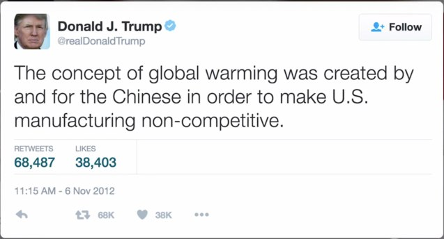 Trump believes Climate change is a hoax perpetrated for and by the Chinese.