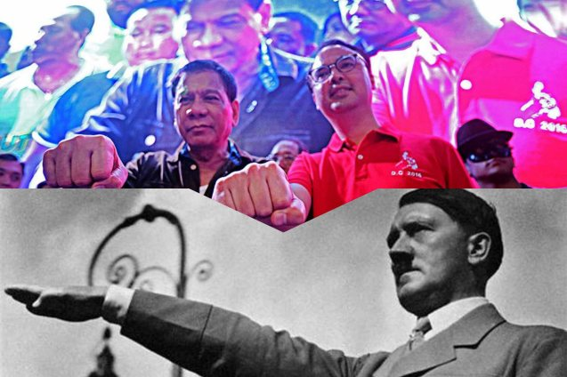 Duterte's fist symbol is eerily similar to another tyrant's Sig Heil.