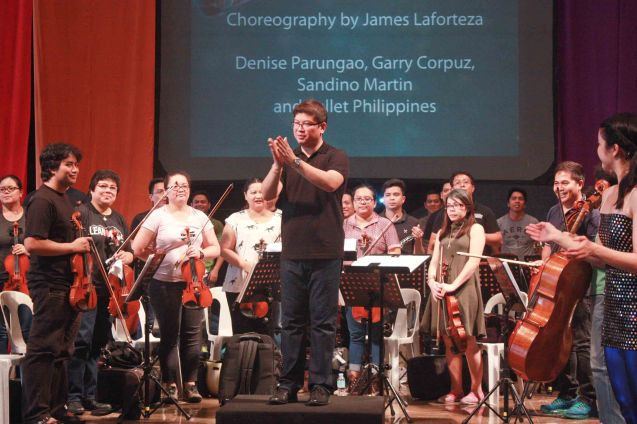 Conductor Gerard Salonga and the ABS CBN Philharmonic Orchestra; BP's AWITIN MO AT ISASAYAW KO will run from Dec 2-11, 2016 at the CCP Main Theater (Tanghalang Nicanor Abelardo). Photo by Jude Bautista