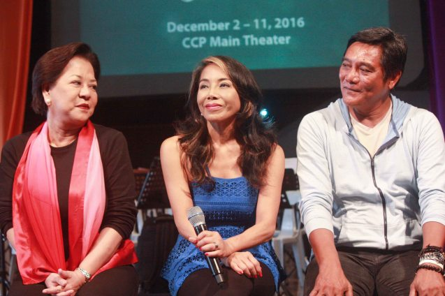 from left: Librettist Bibeth Orteza, Ednah Ledesma & Butch Esperanza. BP's AWITIN MO AT ISASAYAW KO will run from Dec 2-11, 2016 at the CCP Main Theater (Tanghalang Nicanor Abelardo). Photo by Jude Bautista