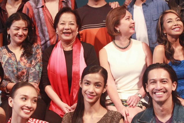 foreground from left: Denise Parungao, Rita Angela Winder, Jean Marc Cordero, Seated from left: Cooky Chua, Librettist Bibeth Orteza , BP Pres. Margie Moran & Ednah Ledesma. BP's AWITIN MO AT ISASAYAW KO will run from Dec 2-11, 2016 at the CCP Main Theater (Tanghalang Nicanor Abelardo). Photo by Jude Bautista