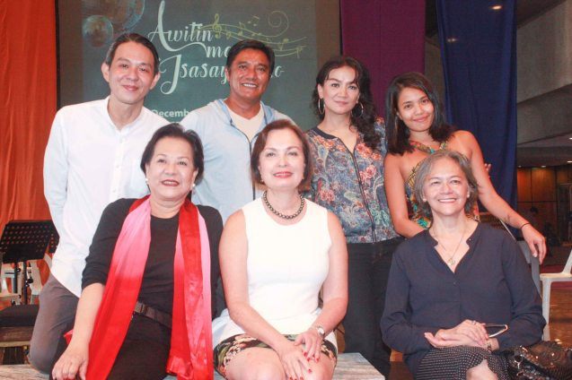 Seated from left: Librettist Bibeth Orteza, BP Pres. Margie Moran & Edna Vida Froilan, Standing from left: BP Artistic Dir. Paul Alexander Morales, Butch Esperanza, Kooky Chua and Choreographer Carissa Adea. BP's AWITIN MO AT ISASAYAW KO will run from Dec 2-11, 2016 at the CCP Main Theater (Tanghalang Nicanor Abelardo). Photo by Jude Bautista