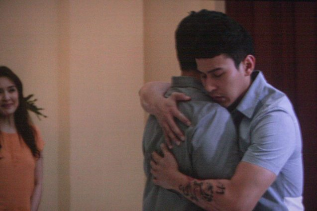 Enchong Dee (Son son) hugs Richard Yap (Wilson Sr); MANOPO 7: CHINOY opened last December 14, 2016 at a mall near you.