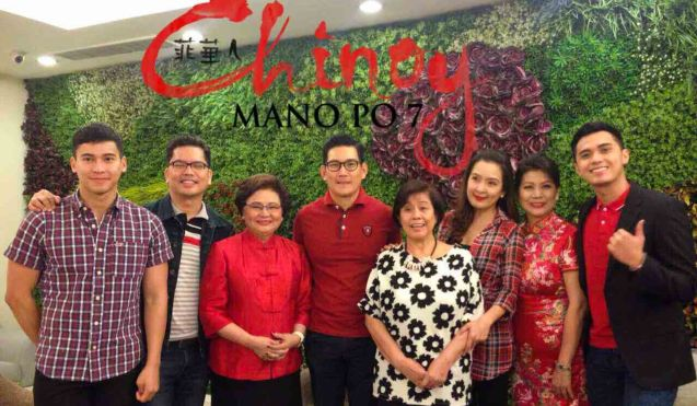 from left: Enchong Dee, Carlo Orosa, Rosalind Wee, Richard Yap, Mother Lily Monteverde, Jean Garcia, Rebecca Chuaunsu and Marlo Mortel. MANOPO 7: CHINOY opened last December 14, 2016 at a mall near you.